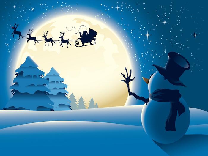 wald mit bäumen - ein blauer himmel mit kleinen sternen und einem großen gelben mond - ein schneemann mit einem schwarzen hut und einem schwarzen schal