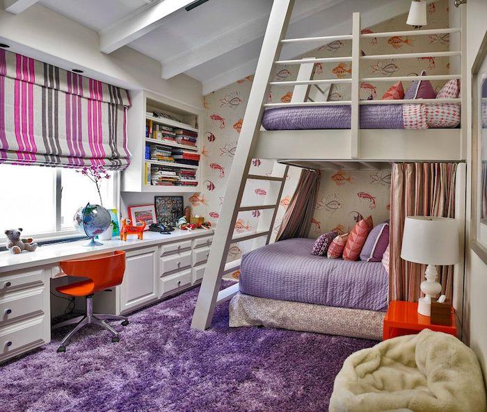jugendzimmer möbel hochbett im zimmer doppelbett schöne idee gegenseitig schreibtisch riesengroß flauschiger hocker