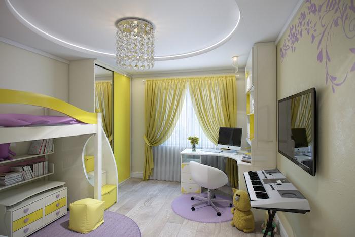 jugendzimmer möbel in lila und hellgrün gelb vorhänge lampe hängend vom dach moderne piano installation hochbett über dem schreibtisch lila teppich
