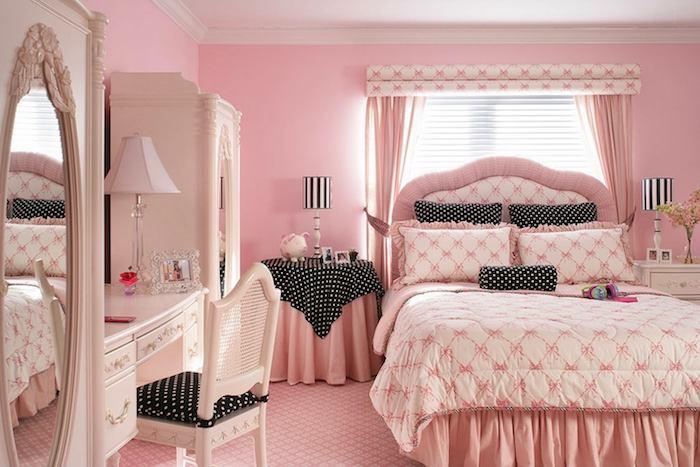grau weißes zimmer in shabby stil rosarot spiegel groß am schrank schwarz mit weißen punkten stehlampe designs