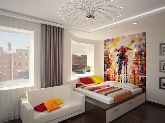 jugendzimmer möbel weiße möbel mit bunter gestaltung deko ideen bunte wanddeko bild schöne aussicht aus dem fernseher lampe design