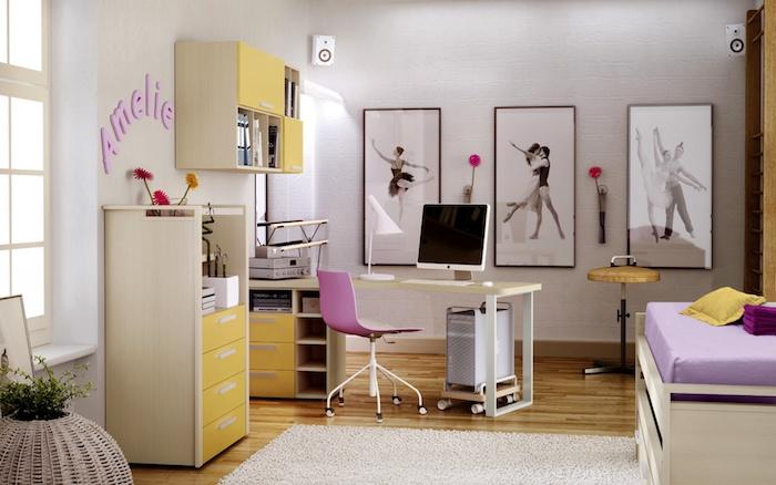 jugendzimmer möbel idee in gelb und lila wandbilder ideen mit balletttänzer ein mädchen das tanzen trainiert