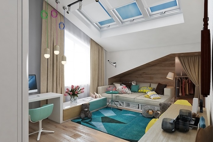 wandgestaltung jugendzimmer fensterdeko ideen blau grner teppich schreibtisch ideen sofa design idee groes kinderzimmer - Fantastisch Besondere Kinderzimmer Bume