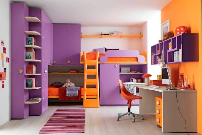 wandgestaltung jugendzimmer lila und orange ideen teppich bunte gestaltung ideen schreibtisch orange mit lila regale darüber