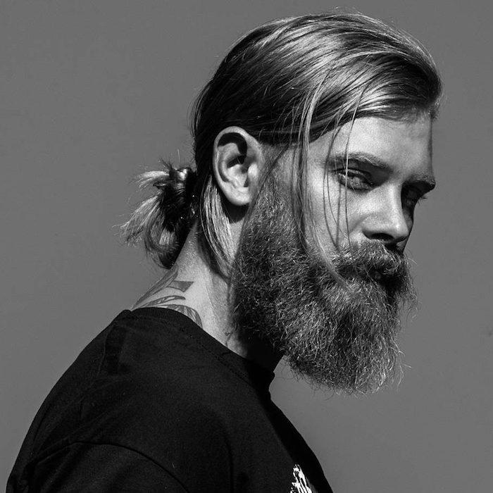 frisur lange haare, männerfrisuren für lange haare, hipster bart