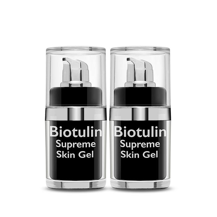 zwei Kosmetikbehälter mit Biotulin Supreme Skin Gel