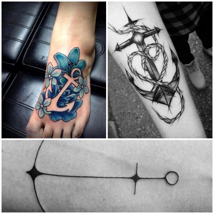 tattoo anker, farbige tötowierung mit blauen blumen und anker-motiv