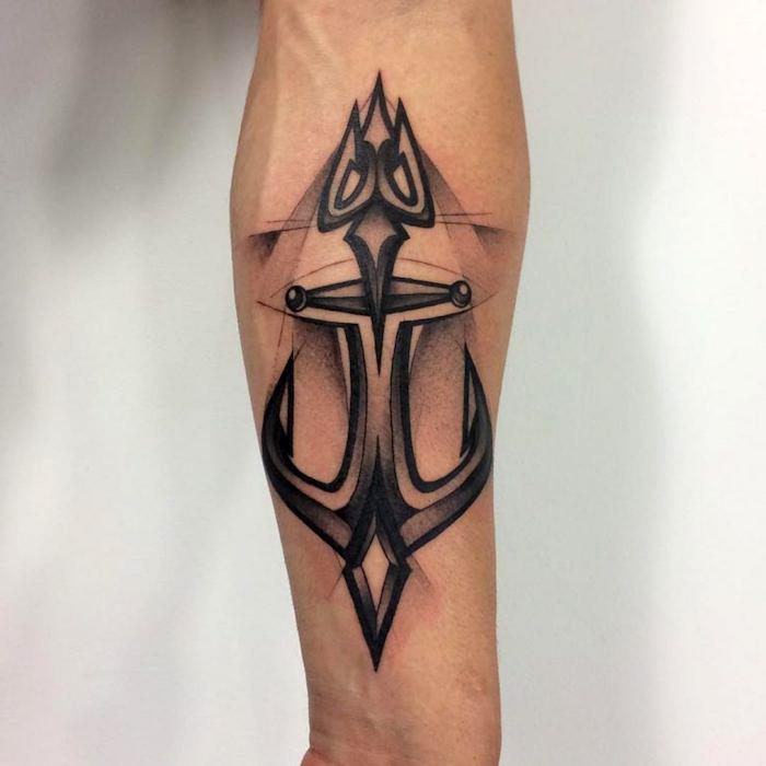 schwarz-graues anker tattoo am arm, tattoos für männer