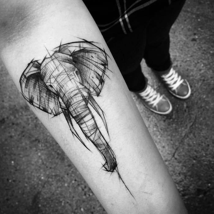 tattoo vorlagen, blackwork tattoo am uterarm, elefantenkopf