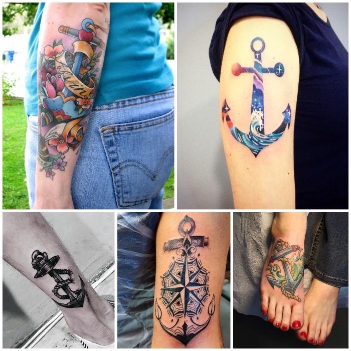 populäre anker tattoo designs, farbige und schwarz-graue tätowierungen