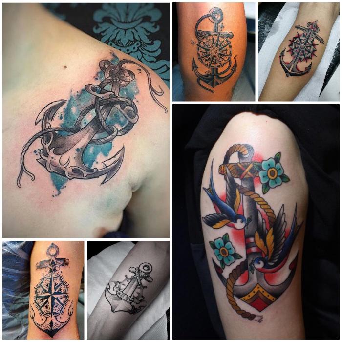 anker tattoo ideen für männer, tätowierung mit anker-motiv in kombination mit kompass