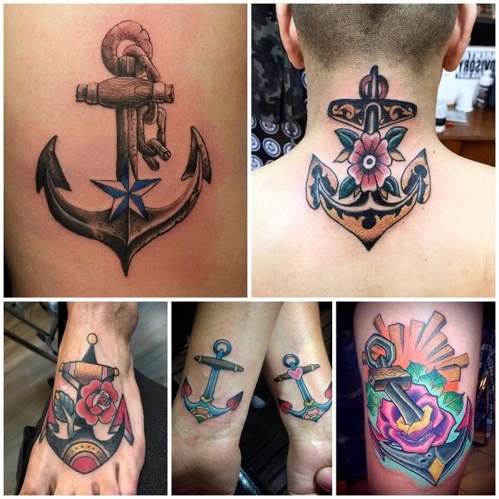nacken tattoo mann, fadnige tötowierung am rücken, füß tattoo