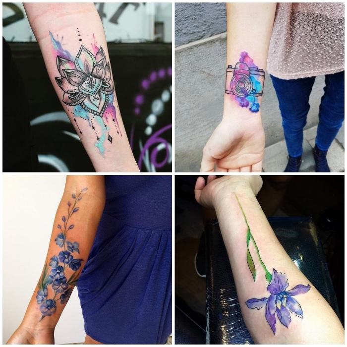 tattoo arm frau, wasserfarben tattoos für frauen, blumen