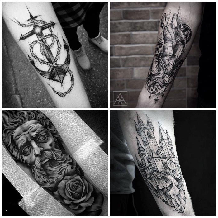 tattoo unterarm, tätowierungen in schwarz und grau, tattoos für männer