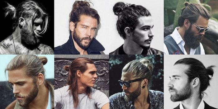 frisuren für lange haare, männerfrisuren 2018, männer mit hipster bart und dutt-frisuren