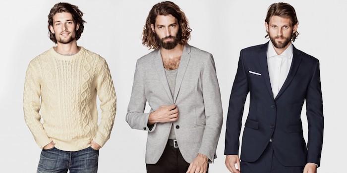 frisuren lange haare, trendige outfits für männer, blauer anzug mit weißem hemd, schwarze hose mit schwarzem sakko