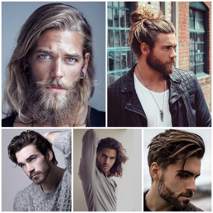 frisuren lange haare, männer mit bart und langen haaren, männerfrisuren 2018