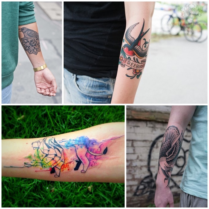 tattoo unterarm, wasserfarben tattoo mit löwen-motiv, vogel tattoos