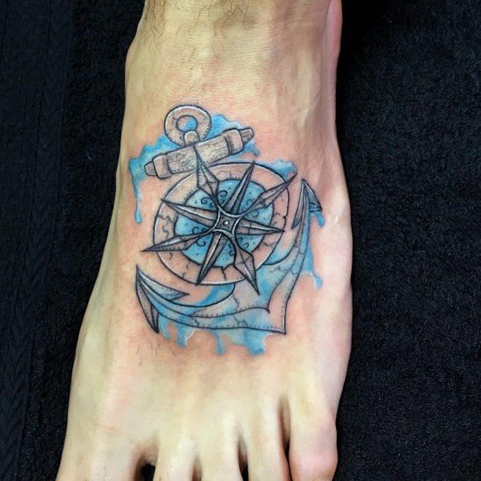 anker tattoo fuß, kompass in kombination mit anker und wasserwellen