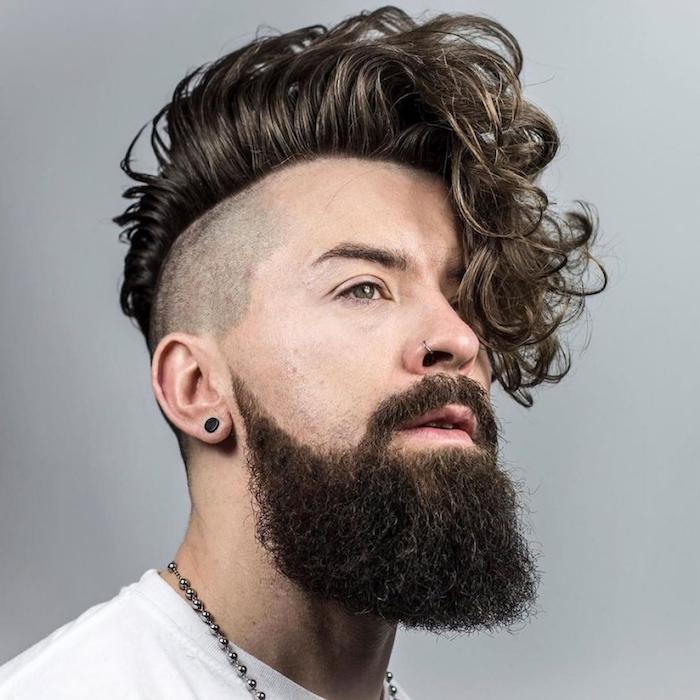 männer haarschnitt, männerfrisuren 2018, mann mit langem bart
