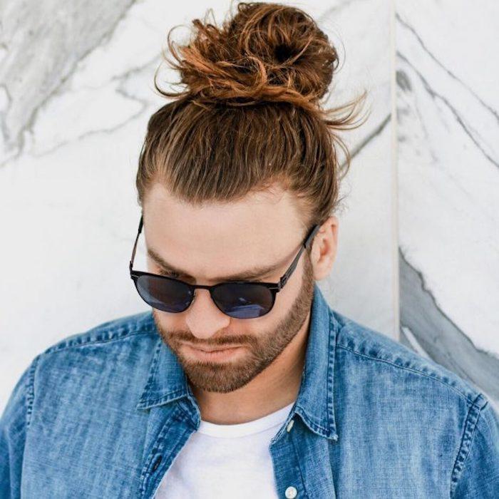 frisuren lange haare, männerfrisuren 2018, mann mit dutt-frisur