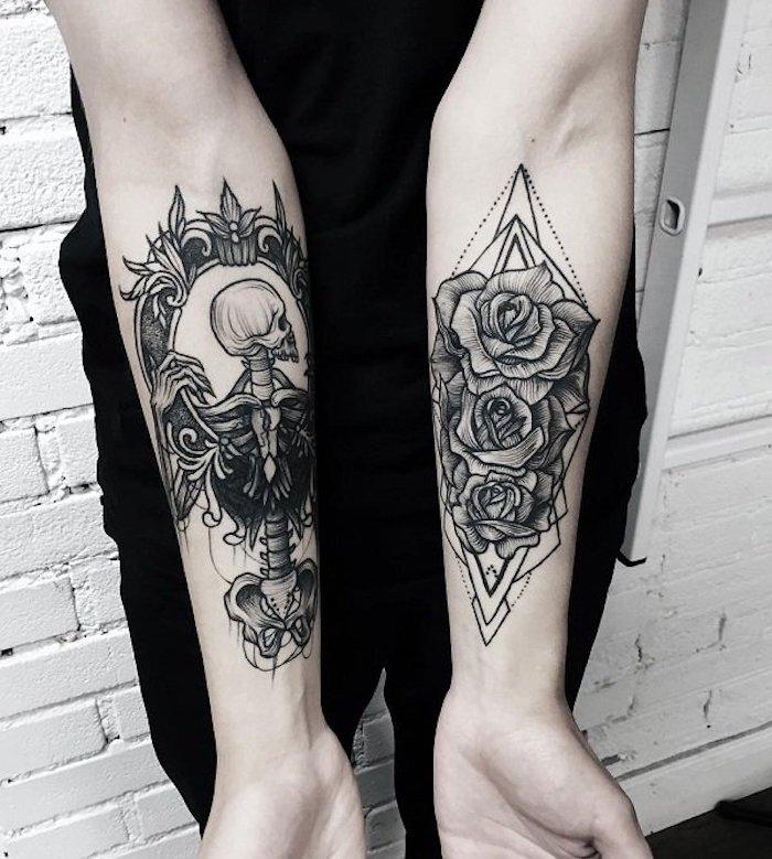 tattoo arm frau, tätowierungen an den ärmen, drei rosen mit geometrischen elementen