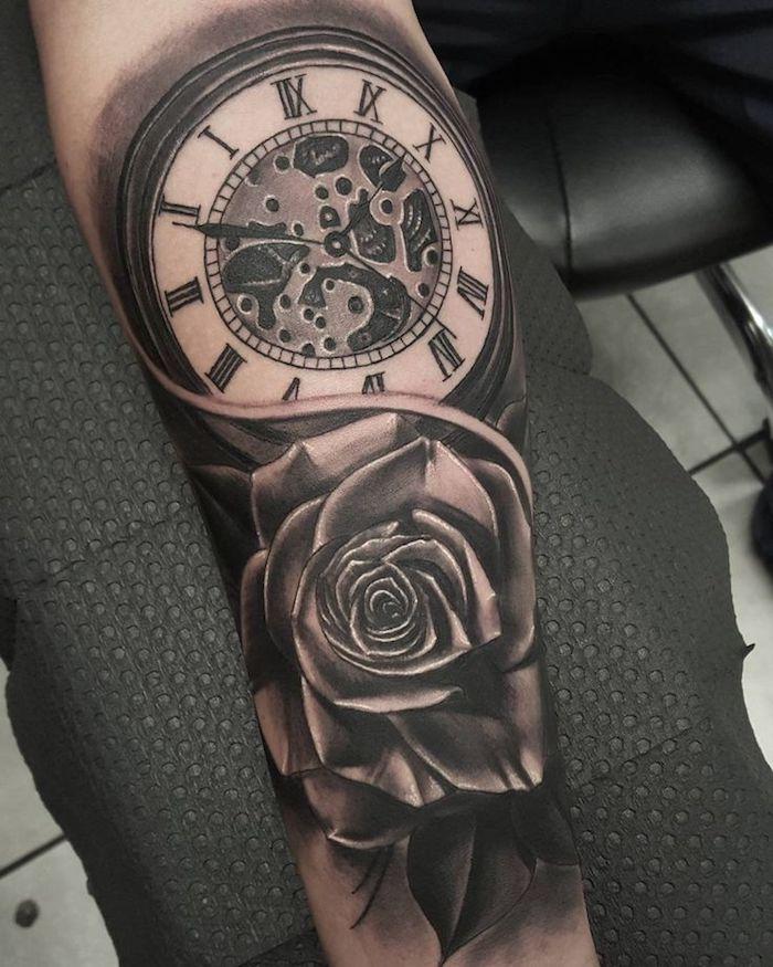 tattoo uhr, 3d-tätowierung in schwarz und grau, rose mit uhr