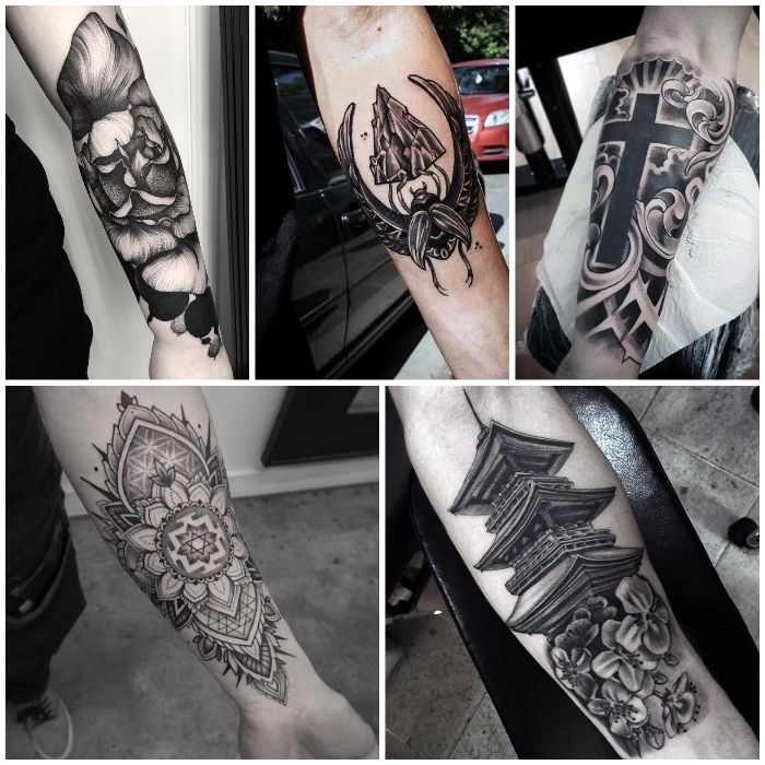 tattoo unterarm, tattoo-motive für männer, schwarz-graue tätowierungen