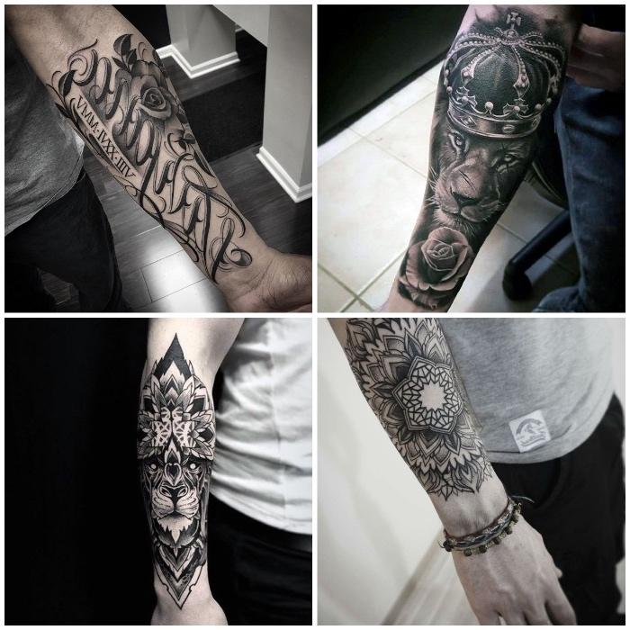 tattoo unterarm, tattoo-motive für männer, löwe mit krone, mandala