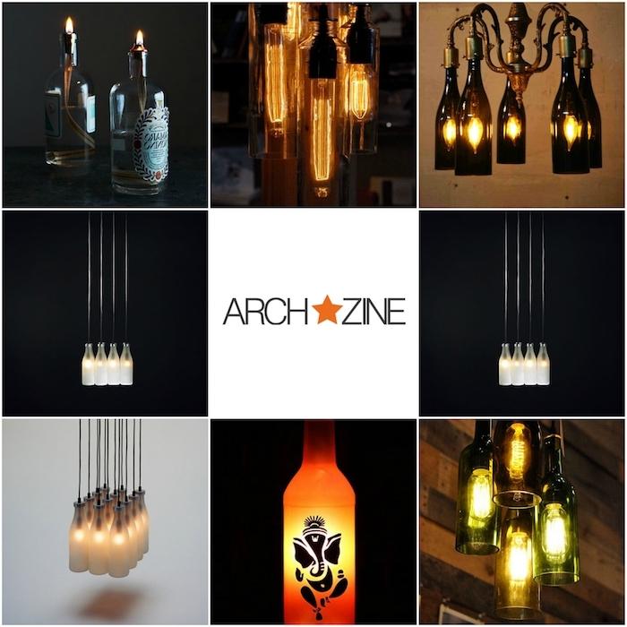 basteln mit glasflaschen - acht bilder mit orangen und weißen flaschenlampen und grünen hängeleuchten