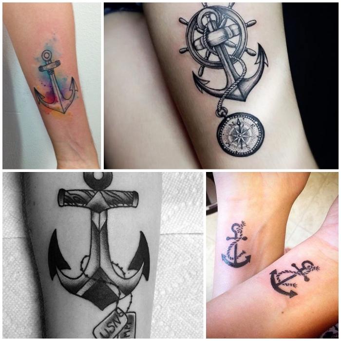 anker bedeutung, maritime tattoo designs, anker in kombination mit kompass und schiffsteuer