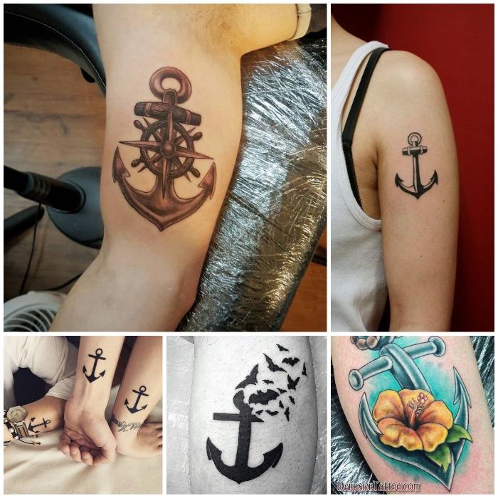 anker bedeutung, maritime tattoo-motive, anker mit fliegenden federmäusern