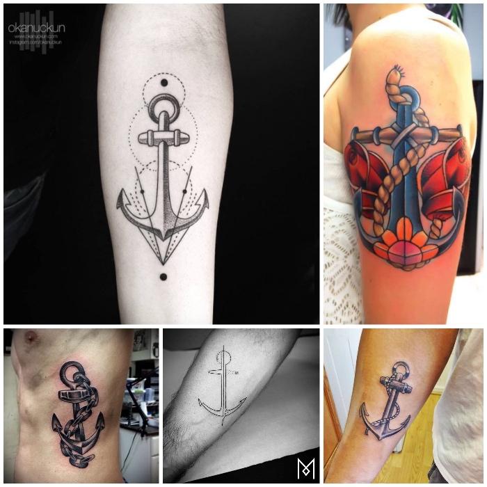 bedeutung anker, tätowierung mit geometrischen elementen, schwarz-graues tattoo an der körperseite