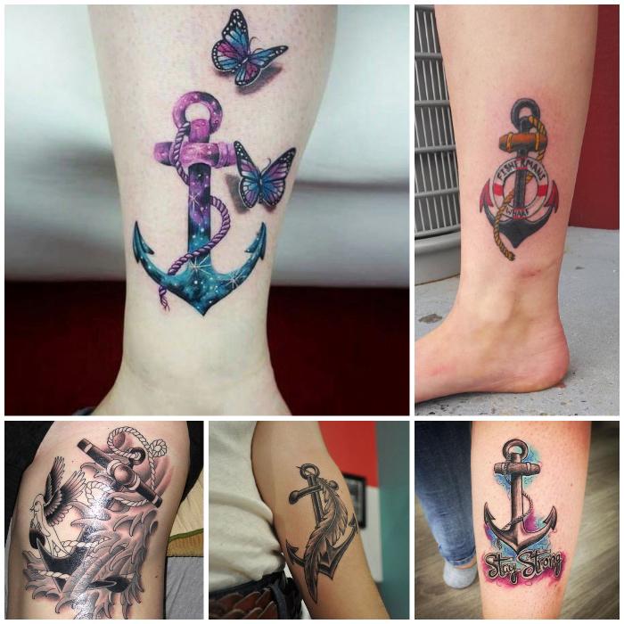 bedeutung anker, 3d fliegende schmetterlinge, tattoo am bein, anker mit feder