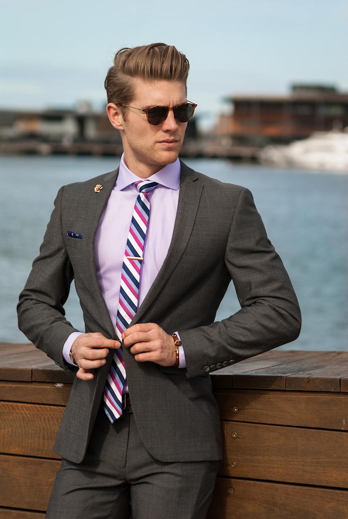 grauer anzug welches hemd - ideen und inspirationen für stilvollen gentlemen lila oder violett hemd ideen