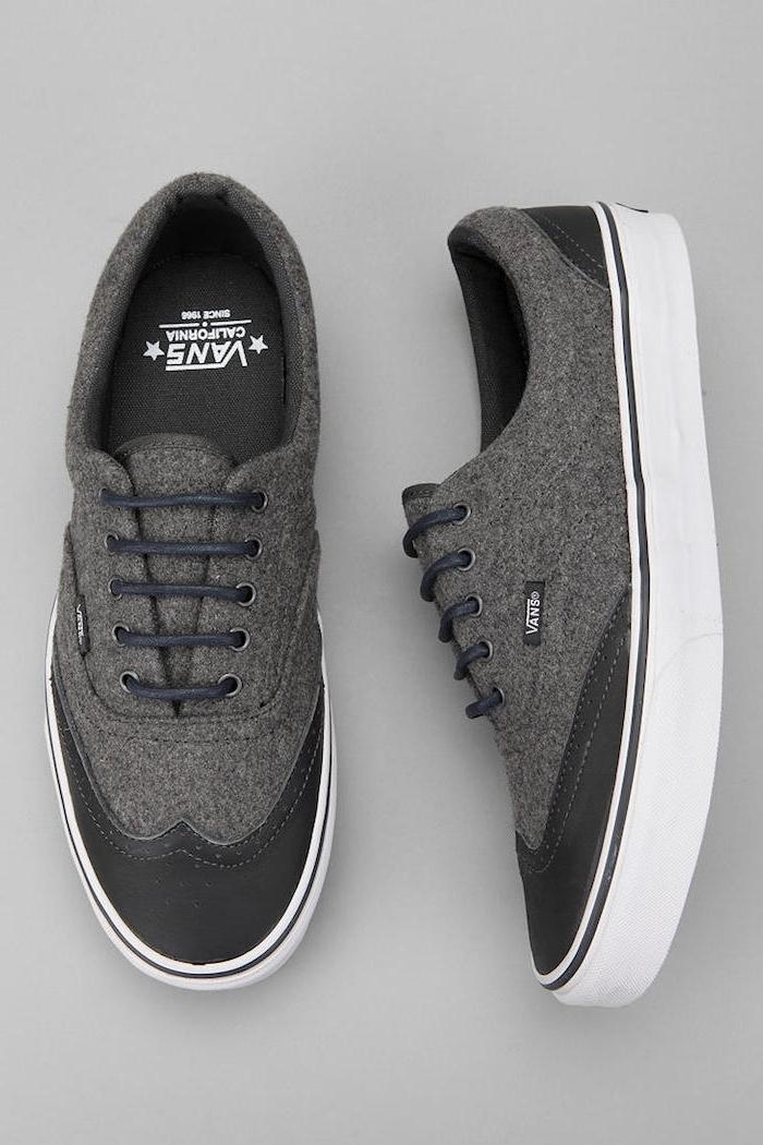 grauer anzug welche schuhe coole ideen zum casual style business casual vans sneakers in grauer farbe zum eleganten anzug