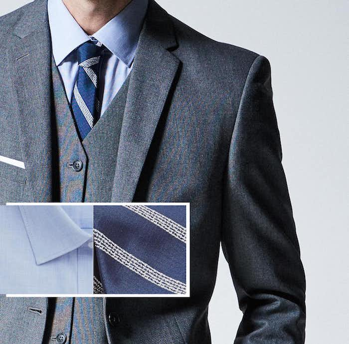 graue hose outfit ideen womit kann man diese kombinieren natürlich mit einem grauen sakko blaue krawatte und blauem hemd