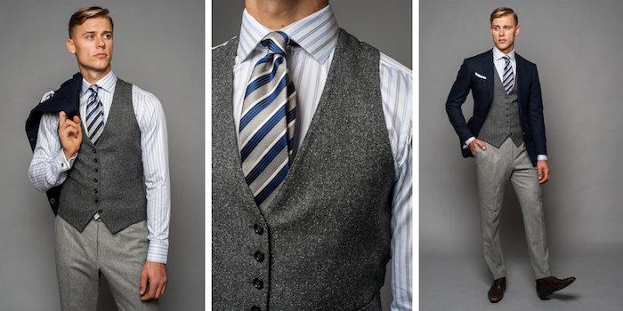 helle farbe graue hose outfit ideen zur mischung der nuancen vom grauen idee gestreifte krawatte