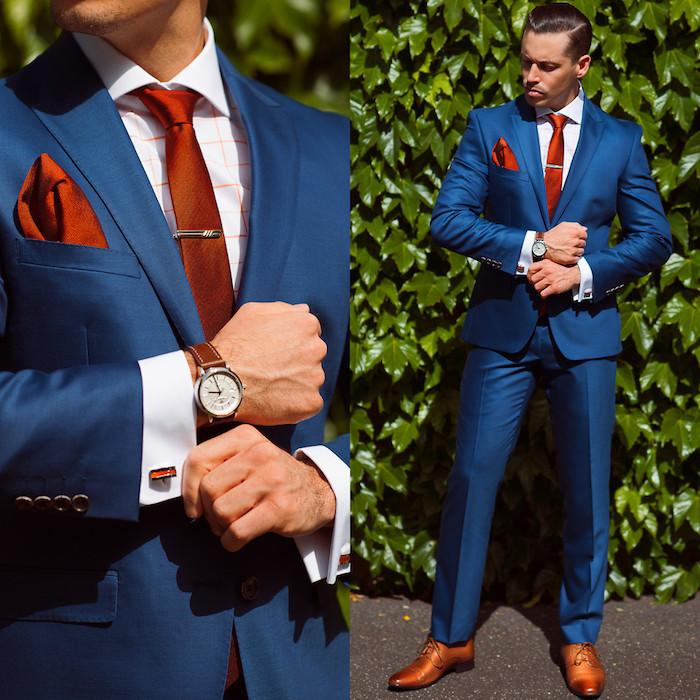 blauer anzug braune schuhe eleganter look vom modernen businessman armbanduhr in braun wie der gürtel braune manschetten und fichu