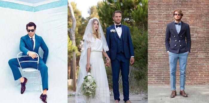 welche schuhe zum anzug blauer anzug ideen weißes hemd bräutigam superstar oder boheme blau und braun lassen sich zu jedem style kombinieren und tragen
