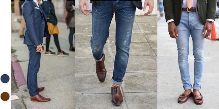 welche schuhe zum anzug in blauer farbe verschiedene stil ideen für männer hose und schuhe kombination jeans dunkel hell oder elegante hose mit braunen schuhen