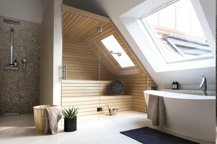 Bad mit Sauna für zwei Personen mit kleinem Dachfenster, schwarze Fußmatte, Wäschekorb aus Holz, Deko mit Aloepflanze