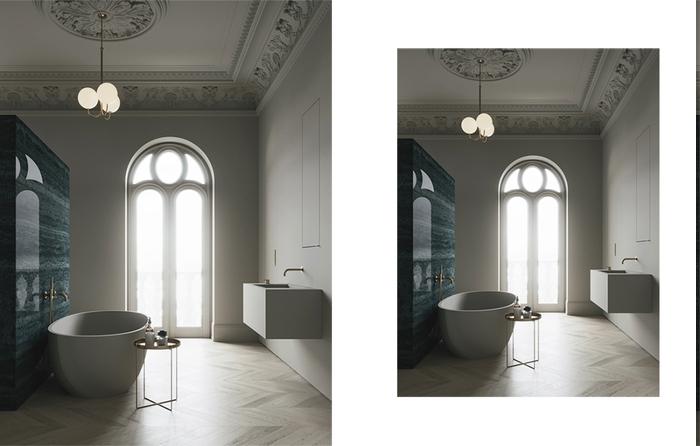Luxus Bad mit Trennwand mit Spiegeleffekt, Bogenfenster mit Designer-Rahmen, Decke mit dekorativen Ornamenten, Beistelltisch aus Metall