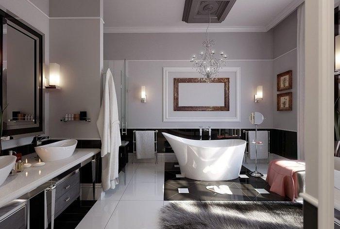 Deko mit Teelichter, Kronleuchter mit antikem Design, Teppich mit grauen Troddeln, Polsterhocke mit einer aschenrosa Decke darauf, Spiegel mit Designerrahmen, runder Spiegel mit Stand