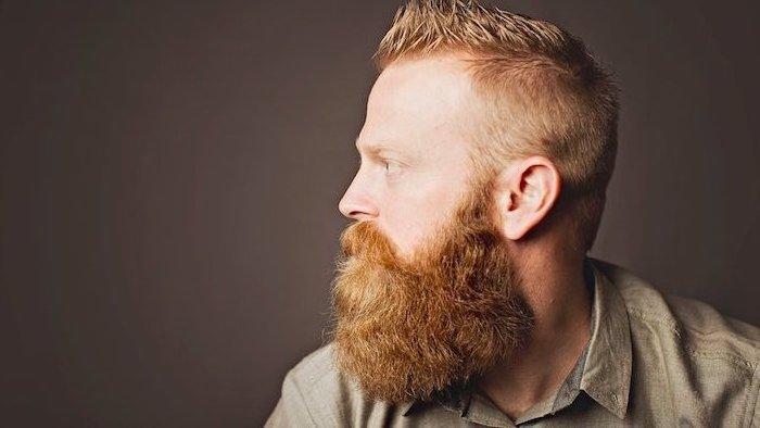Nach Gesichtsform Barttyp auswählen, Mann mit ovalem Gesicht und Vollbart, dunkelblonde Haare