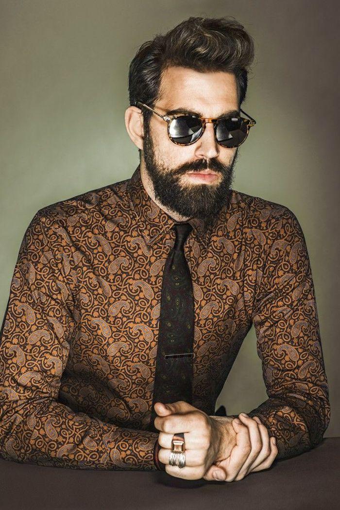 männer mit bart braunes hemd mit krawatte ring brille haare frisieren style für männer coole ideen