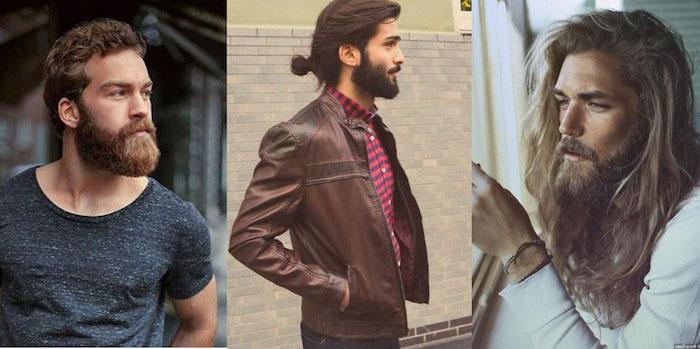 vollbart wachsen lassen drei ideen langer bart kurze haare oder lange haare und dritte variante blonder mann mit langem bart und lange haare