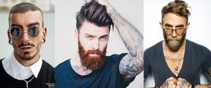 bartfrisuren drei mögliche ideen für elegante männer coole styling ideen ringe auf dem gesicht roter bart oder blond und tätowiert