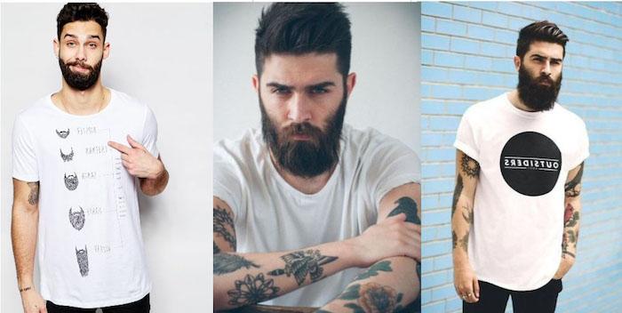 bartfrisuren ideen weißes hemd mit aufschriften deko elemente schwarze malerei auf dem shirt barttypen print tattoos vollbart ideen simpel