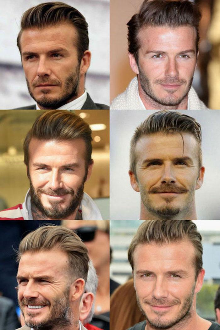 Bartfrisuren von David Beckham, Drei Tage Kinnbart und Moustache, kastanienbraune glatte Haare